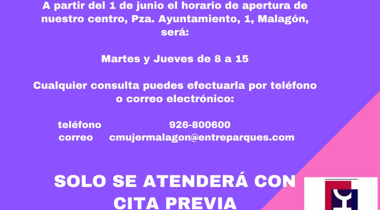 Horario de atención presencial en el mes de junio Centro Mujer Malagón