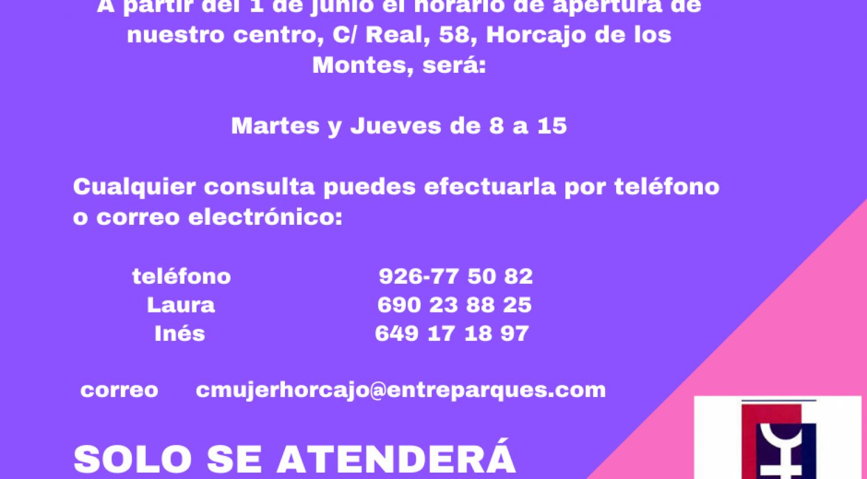 Horario de atención presencial en el Centro de la Mujer de Horcajo en junio